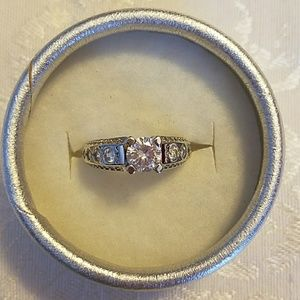 Jewelry - 925 Sterling Silver Wedding Ring, CZ accents, sz 7